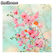 NEW 5D DIY Diamond Painting Crystal Diamond Painting Cross Stitch Butterfly Orchid Mosaic Kit Home Decoration Embroidery CC1196
