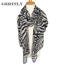 GERINLY Scarf Women Animal Print Scarves Fashion Zebra Pattern Design Shawls Wraps Echarpe Foulard Femme 90CMx180CM Voile Hijab