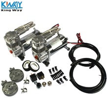 "FREE SHIPPING-King Way- 2 Sets 150 PSI  12V AIR COMPRESSOR 1/4"" HOSE KIT FOR TRAIN HORNS/BAG SUSPENSION"