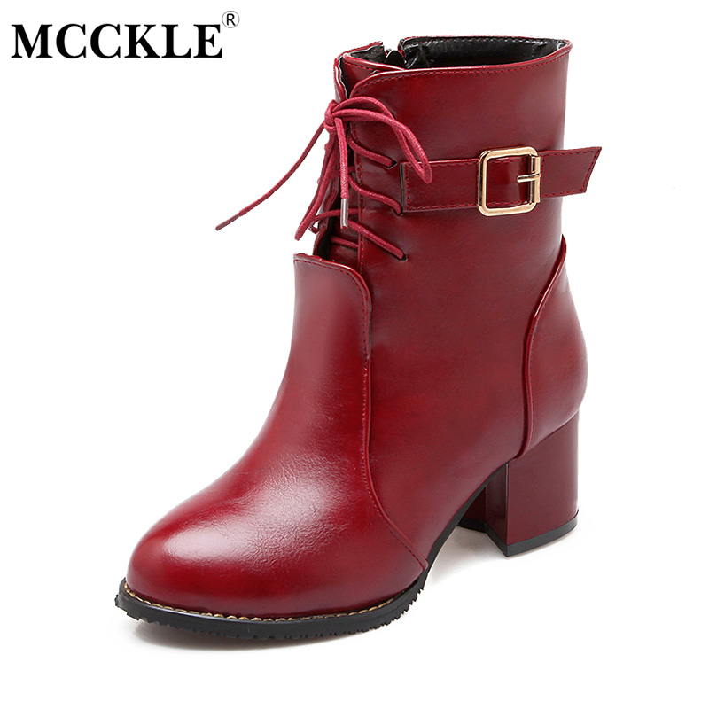 MCCKLE 2017 Womens Fashion Zip Buckle Lace Up Ankle Martin Boots Female High Quality Leather Thick Heel Shoes Plus Size 34-43<br>