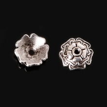 20pcsTibetan Style Silver Plated Flower Metal Bead Caps 3x9mm For Jewelry Making Connector Beads End Caps Diy Jewelry Parts