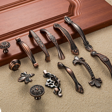 5pcs Antique Door Handles Diamond Drawer Pulls Carved European Kitchen Cabinet Handles and Knobs Retro Table Furniture Handles