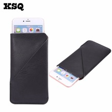 KSQ Universal Leather Phone Bag Case For iphone7 6P Opening Holster Cover Pocket Pouch For HTC For LG Huawei For Samsung S8 Plus