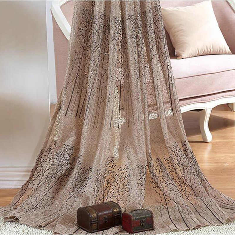 Coffee Luxury Rich Tree Window Curtain Tulle Sheer For living Room Chenille Double-sided Thickening Blackout Curtains MY130#40