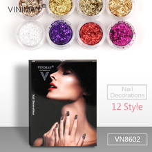 VINIMAY Fashion Golden Pink Glitter 3D Nail Window Dressing Design Nails Pigment Flake Manicure Accessories Decoration