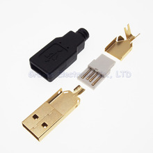 5set DIY 4 in 1 gold-plated USB 2.0 Type A Male Plug With Gum Cover Shell(China)