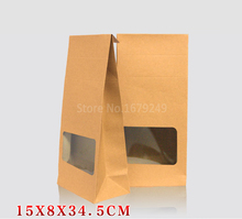 15x8x35cmThe new window paper box Senior food baking box Cookies Walnut dry fruit upright stand = box bag100piece\lot whole sale(China)