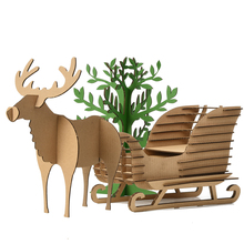 Cute Kids Gifts Christmas Tree Ornaments Reindeer Snow Sledge Toys Children 3D Puzzle Deer Sled Model Decoration Xmas Present