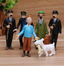 Official Anime Cartoon 4-9cm The Adventures of Tintin PVC Action Figures Collectible Model  Free shipping
