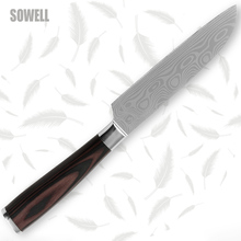 Santoku knife 5 inch high carbon stainless steel kitchen knife Damascus wave pattern razor sharp edge cooking tools hot products(China)