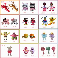 Hand Customize Free Shipping New 2015 18pcs Bug Bow Clip Character Teddy Bear Dog Hamburger Lollipop Monkey SpongeBobToy story