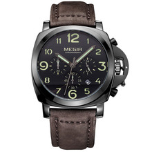 Megir Chronograph Casual Watch Men Luxury Brand Quartz Military Sport Watch Genuine Leather Men's Wristwatch Relogios Masculino(China)