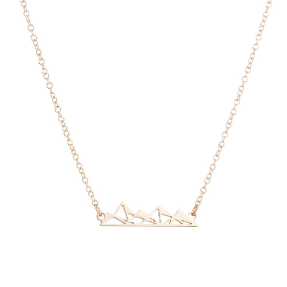 Mountain necklace geometric necklace unique necklace gold necklace pyramids mountains pendant mountain