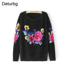 Deturbg Vintage Rose Flower Pattern Knitted Pullover Female Casual White Black Mohair Sweaters For Women Autumn Winter SW123(China)