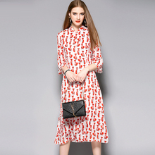 New Arrival Half Sleeve foxes Print Chiffon Long Dress White And Red Mid-Calf Length Elegant Soft Women Dress