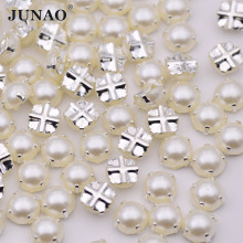 JUNAO 6 7 8 mm White Sewing Pearl Beads Silver Claw Sew On Rhinestones Flatback Half Round Scrapbooking Pearls 500pcs