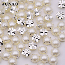 JUNAO 6 7 8 mm White Sewing Pearl Beads Silver Claw Sew On Rhinestones Flatback Half Round Scrapbooking Pearls 500pcs(China)