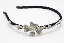 1pc Fashion  Headband  Brides  Rhinestone Clover  Leaf Hair Band  Jewelry Crystal  Rubber Band  Kids  Accessories  E806-3