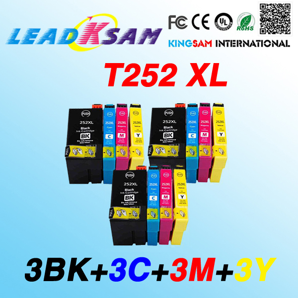 12x high capacity compatible ink Cartridge T252 252XL T2521 for epson WF-3620 WF-3640 WF-7610 WF-7620 chip with full ink