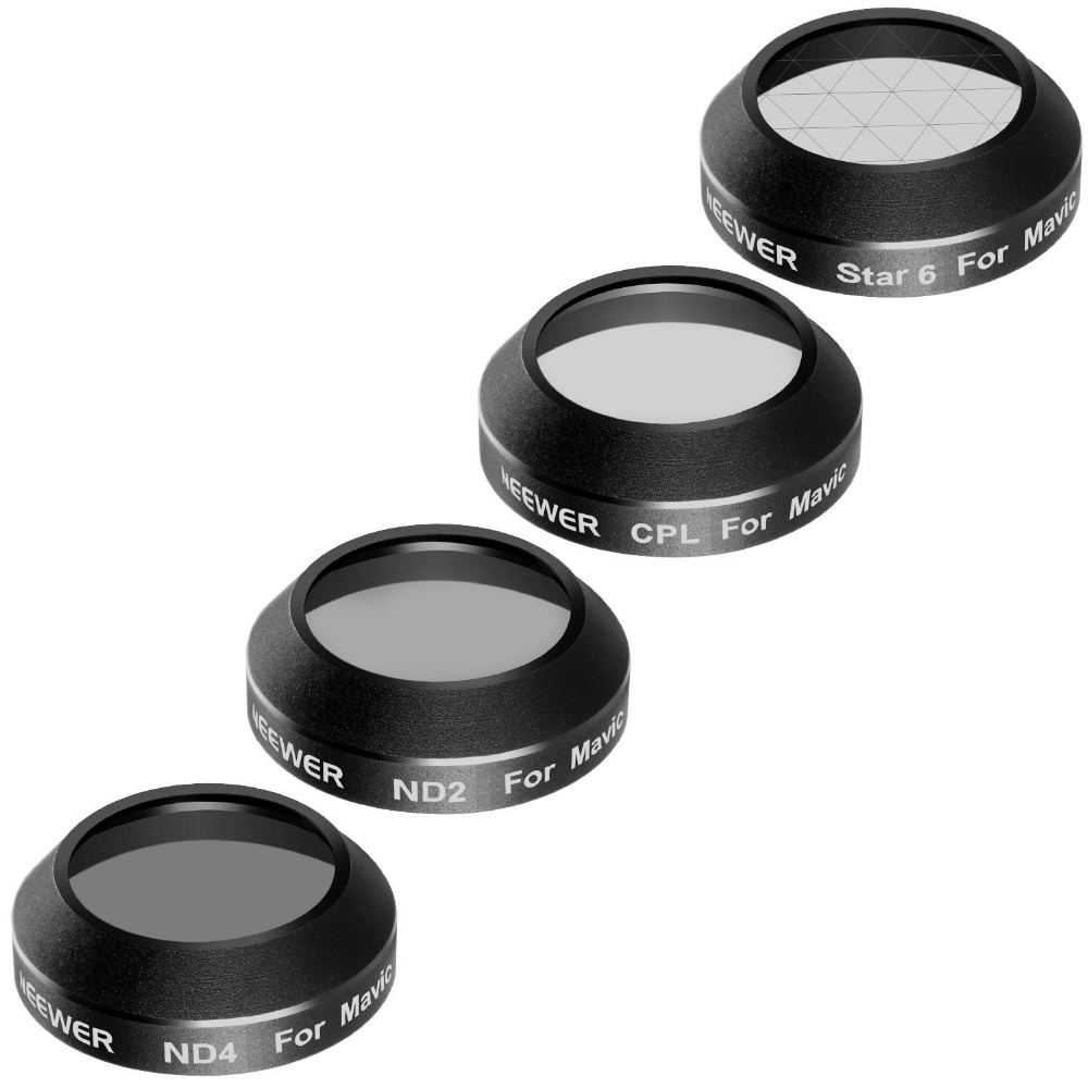 Neewer Multi-coated 4 Pieces Filter Kit for DJI Mavic Pro Drone Quadcopter Includes: CPL, ND2, ND4 and 6-Point Star Filter