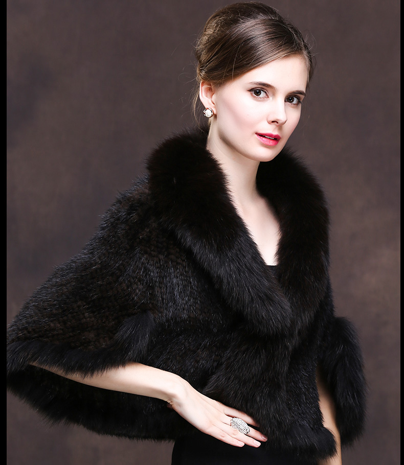 Winter Shawl Wrap Poncho Real Knit Mink Fur shawl With Fox Trimming Real fur Jacket coats party 2017 new (30)