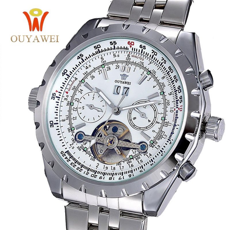 2017 OUYAWEI Men Skeleton Automatic Mechanical Watch Stainess Steel Steel Watches Transparent Montre Homme Wristwatch<br><br>Aliexpress
