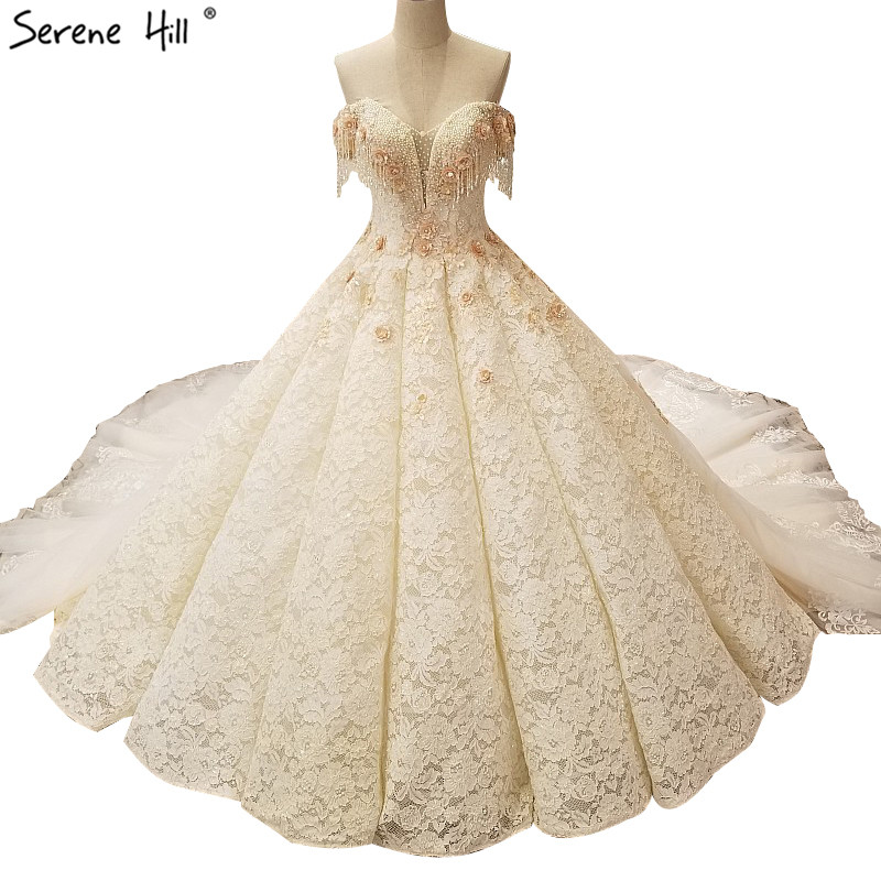 Sexy Shoulder Ivory Lace Backless Ball Gown Wedding Bride Bridal Dress Tassel Gowns Dresses Robe De Mariee Princesse De Luxe