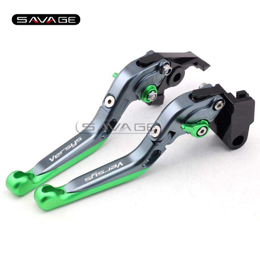 For KAWASAKI KLE 650 Versys 09-13 10 11 12 Titanium+G Motorcycle Adjustable Folding Extendable Brake Clutch Lever Logo Versys<br>