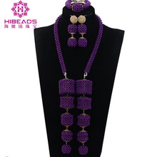 Latest Design Nigerian Wedding African Beads Jewellery Sets Purple Bridal Crystal Jewelry Sets Pendant Statement Necklace ABH463(China)