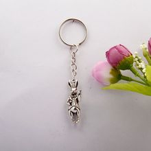 20pcs Hot Sell Fashion Jewelry Vintage Silver Three-dimensional Rabbit Charm Keychain Fit Key Chain Holiday Gifts For Women E311(China)