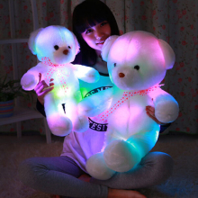 Romantic Colorful Flashing LED Night Light Luminous Stuffed Plush Toys Teddy Bear Doll Lovely Gifts for Kids and Friends YZT0148