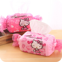Pink Lace Candy Hello Kitty Tissue Cover Home Car Using Tissue Pumping Cartoon Tissue Case Holder Napkin Paper Storage Box