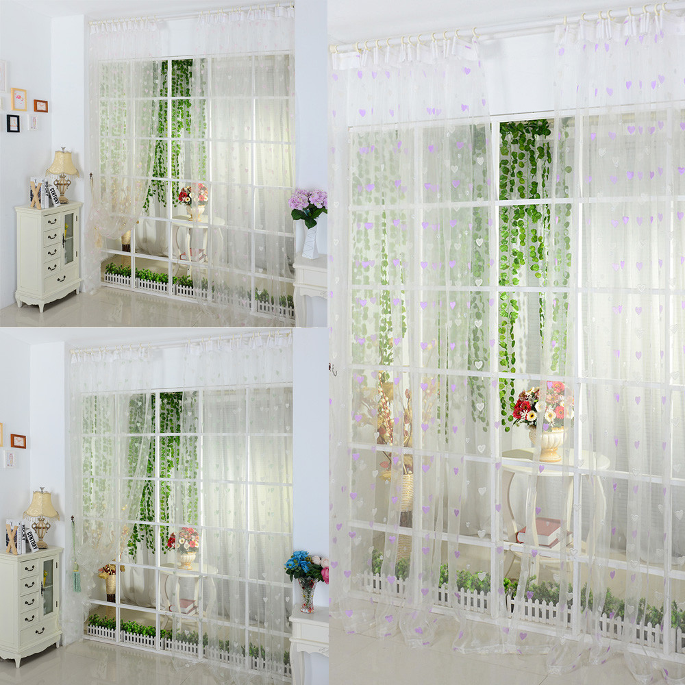 Modern Lovely Sheer Curtain Panel Hot Valances Floral Tulle Voile Door Window Curtain Lovely for Bathroom Bed room Windows(China)