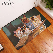 Smiry Anti- Slip Welcome Floor Mats Cute Cartoon Lovely Cat Hallway Kitchen Rug Decoration Stair Carpets Light Thin Crafts Rugs(China)