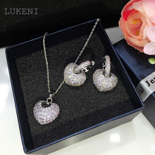 New Design Romantic Korean Style White CZ Cubic Zircon Love Pendant Necklaces And Earring Jewelry Set Jewelry
