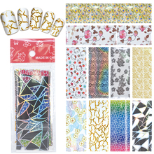 YZWLE 10 Designs Nail Art Full Tips Wraps DIY Transfer Foil Decals Foils Polish Adhesive Wraps #XKT-N22