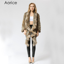 CR049 Knitted knit new real rabbit fur coat overcoat jacket women's winter  warm genuine fur coat with raccoon fur collar