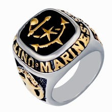 Men's Gold Color American Marine Anchor band ring ,stainless steel fashion silver black finger brand ring jewelry,US size
