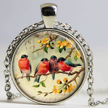 Womens Necklace Fashion 2014 Bird Glass Necklace Red Robin Bird Glass Tile Necklace Pendant(China)