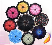 Windproof Folding Creative Umbrella Colorful Flower Rain/Sun Umbrella Proof Ultraviolet Semi-automatic Rubber Umbrella