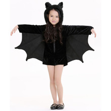 2017 New Child Animal Cosplay Cute Bat Costume Kids Halloween Costumes For Girls Jumpsuit Connect Wings Batman Connect Clothes(China)