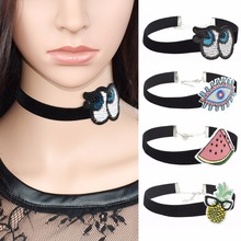 90s style lovely black Velvet Eyes Fruit Watermelon Pineapple embroidery choker necklace patch crochet victorian gothic collar(China)