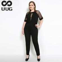 Buy Sexy Mesh Patchwork Rompers Womens Jumpsuit Plus Size Women Clothing 2017 Summer Overalls Combinaison Short Femme Vneck 6xl 5xl for $23.12 in AliExpress store