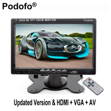 Podofo 7'' VGA Monitor TFT LCD Color Car Monitor 2 Video Input PC Audio Video Display VGA HDMI AV Input Monitor Car-styling(China)