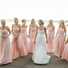 2016 New A Line Sweetheart Pleat Chiffon Pink Long Bridesmaid Dresses Sashes