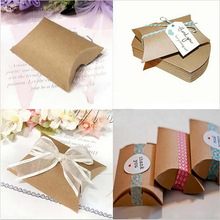 50pcs/set Cute Kraft Paper Pillow Favor Gift candy Box for Wedding/baby shower decoration Party favour Supplies gift box Bags