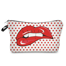 2017 Fashion Travel Cosmetic Bag Zipped Sexy Lady Red Lips Dots Printing Makeup Women Casual Makeup Bags(China)