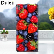 Dulcii for Sony Xperia XA1 Case Softlyfit Embossment TPU Mobile Phone Cover for Sony Xperia XA1 - Strawberry and Blueberry(China)