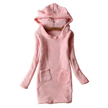 Winter Women Dress High quality Casual Warm Coral Fleece Teddy Bear Ears Hooded Long Sleeve Fall Pink Dresses Cute Clothing(China)
