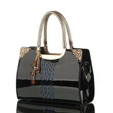 Women brand handbag patent leather openwork handbag Korea fashion single shoulder bag